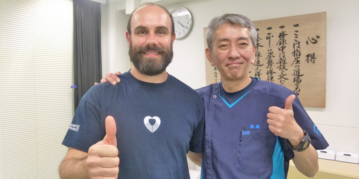 Antoine Di Novi avec Yuji Namikoshi au Japan Shiatsu College